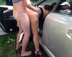 Slutty wife Marion gangbanged in car fun on the parking